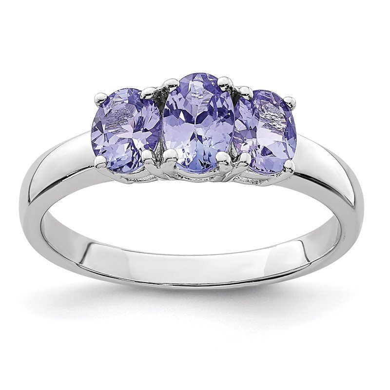 Quality Gold Sterling Silver Rhodium 3-Stone Tanzanite Ring