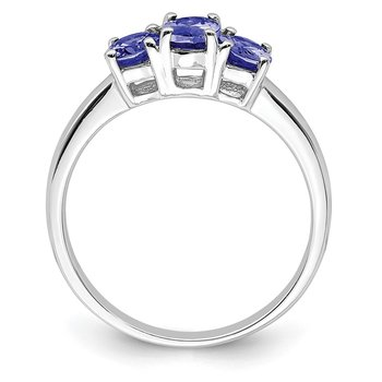 Sterling Silver Rhodium 3-Stone Tanzanite Ring