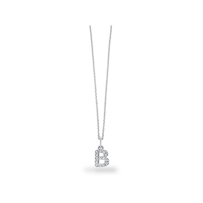 "KC Designs Diamond Baby Block Initial ""B"" Necklace in 14k White Gold with 14 Diamonds weighing .12ct tw."