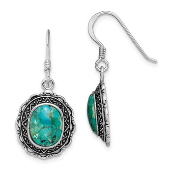Sterling Silver Rhodium-plated Antiqued w/Recon. Turquoise Earrings