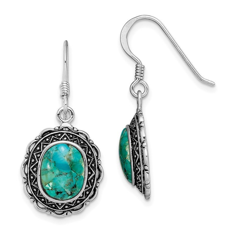 Fine Jewelry by JBD Sterling Silver Rhodium-plated Antiqued w/Recon. Turquoise Earrings