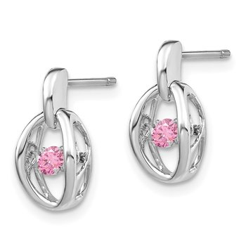 Sterling Silver Rhodium Pink CZ Birthstone Vibrant Earrings