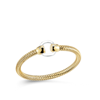 18Kt Gold Flexible Bangle With Circle Station