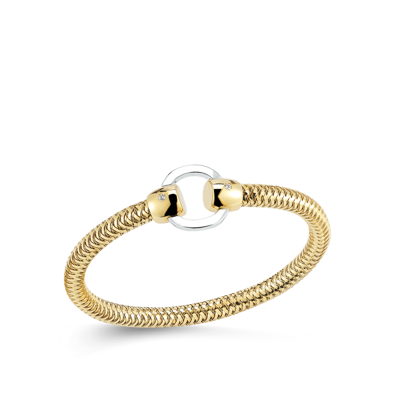 Roberto Coin 18Kt Gold Flexible Bangle With Circle Station