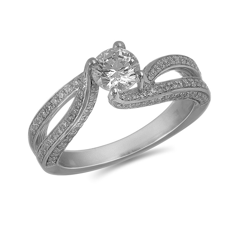 BB Impex 14K WG Diamond Engagement Ring with Flowing Diamonds Set on the Prong Holding the Center Stone (Old #51220)