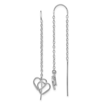 14k White Gold Double Heart Threader Earrings