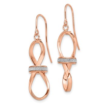 Leslie's 14k Rose Gold Polished Glitter Infused Dangle Earrings