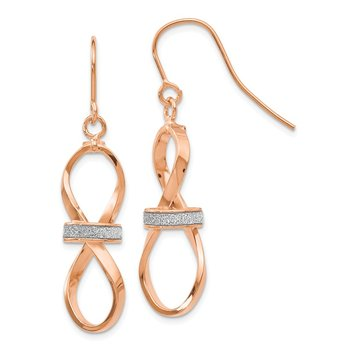 Leslie's 14k Rose Gold Polished Glimmer Infused Dangle Earrings