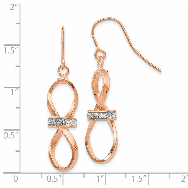 Leslie's Leslie's 14K Rose Gold Polished Glimmer Infused Dangle Earrings