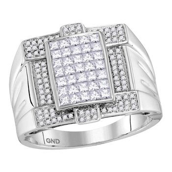 14kt White Gold Mens Princess Diamond Square Cluster Ring 1-3/8 Cttw