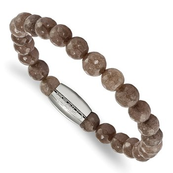 Stainless Steel Polished Brown Jade Bead Stretch Bracelet