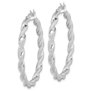 Sterling Silver Rhodium Plated Twist 3.5x40mm Hoop Earrings