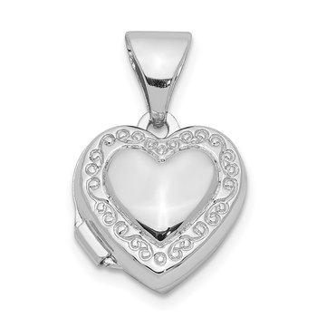 Sterling Silver Rhodium-plated 10mm Heart Locket