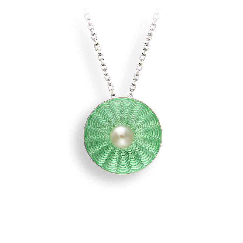 Nicole Barr Designs Green Round Necklace.Sterling Silver-Freshwater Pearl