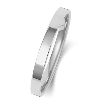 Platinum 2mm Flat Court Wedding Ring