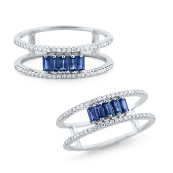 Blue Sapphire & Diamond Ring Set in 14 Kt. Gold