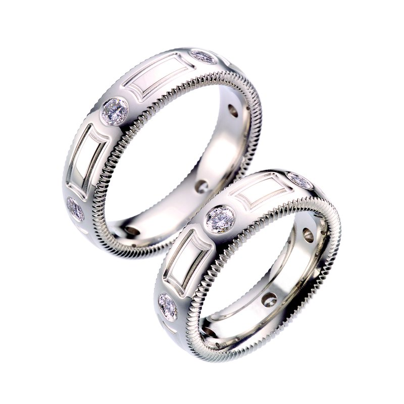 per Amoré Quoin edge embossed band with diamonds