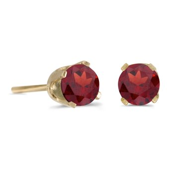 14k Yellow Gold 4mm Round Garnet Stud Earrings