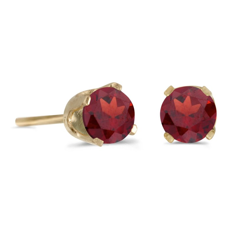 Color Merchants 14k Yellow Gold 4mm Round Garnet Stud Earrings