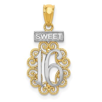14k w/Rhodium SWEET 16 w/Filigree Pendant
