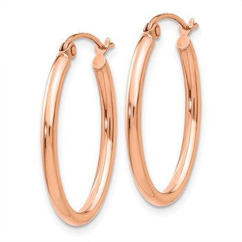 14k Rose Gold Oval Hoop Earrings