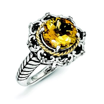 Sterling Silver w/14k Antiqued Citrine and Diamond Ring