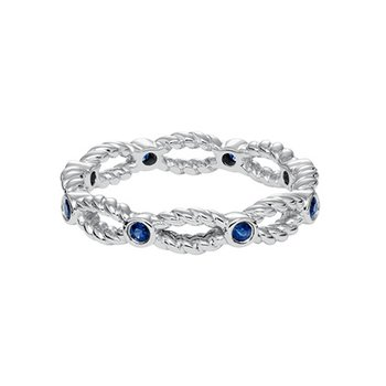 14K White Gold Sapphire Rope Wedding Band