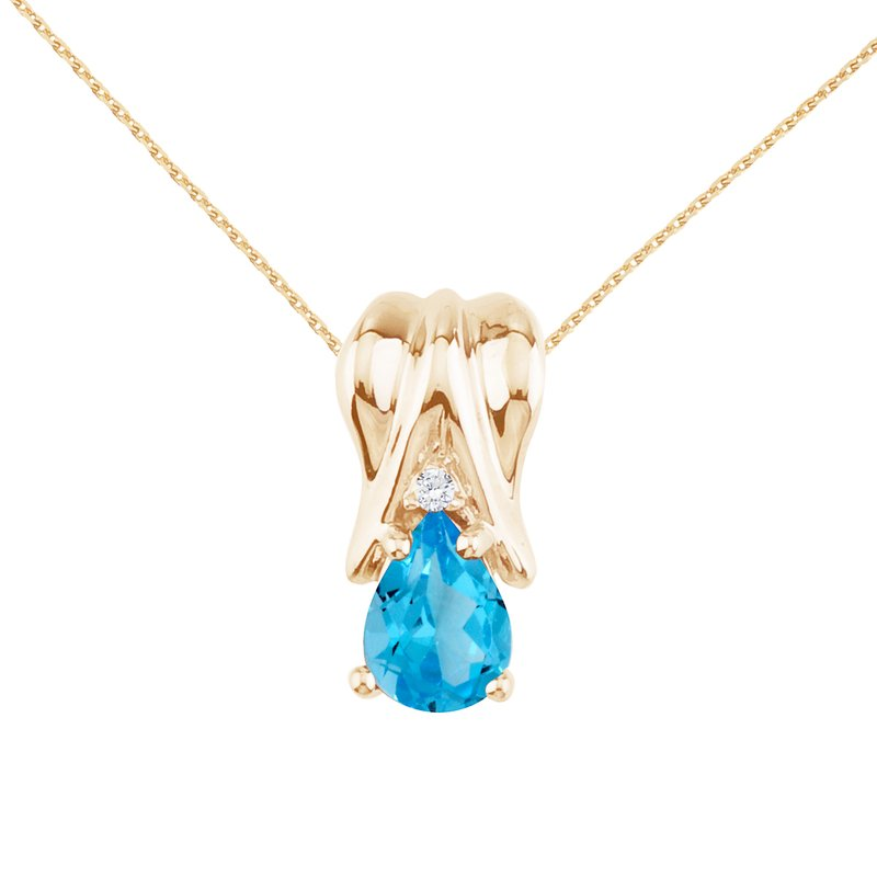 Color Merchants 14k Yellow Gold Blue Topaz and Diamond Pear Shaped Pendant