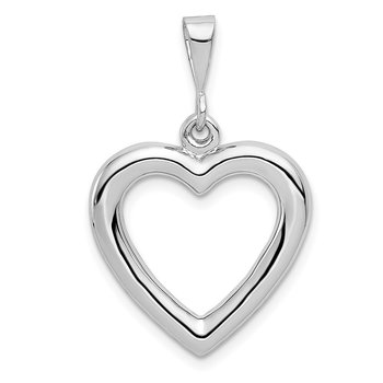 14k White Gold Solid Polished Heart Pendant