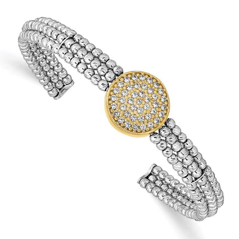 Quality Gold Sterling Silver Gold-tone Rhodium-plated Swarovski Crystal Bangle