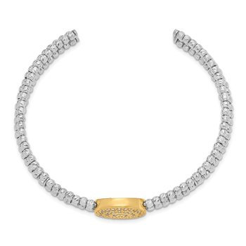 Sterling Silver Gold-tone Rhodium-plated Swarovski Crystal Bangle