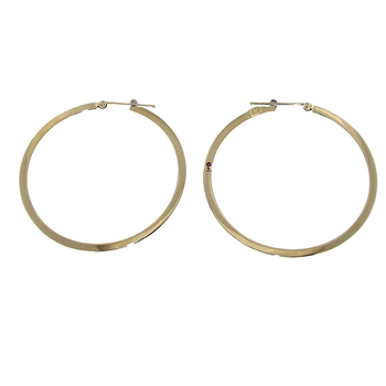 18Kt Gold Large Flat Hoop Earrings