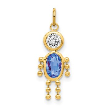14k September Boy Birthstone Charm
