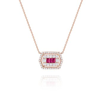 Ruby & Diamond Hexagonal Mosaic Pendant Necklace Set in 14 Kt. Gold