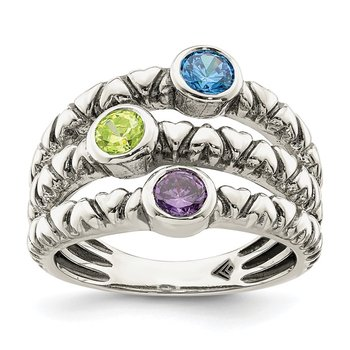 Sterling Silver Blue, Green & Purple CZ Oxidized Ring