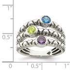 Quality Gold Sterling Silver Blue, Green & Purple CZ Oxidized Ring