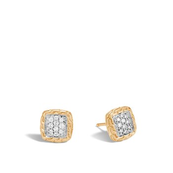 Classic Chain 9.5MM Stud Earrings in 18K Gold with Diamonds