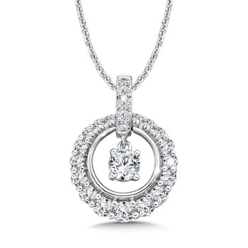 Diamond Round Pendant with Diamond Bale in 14K White Gold (1/4ct. tw.)