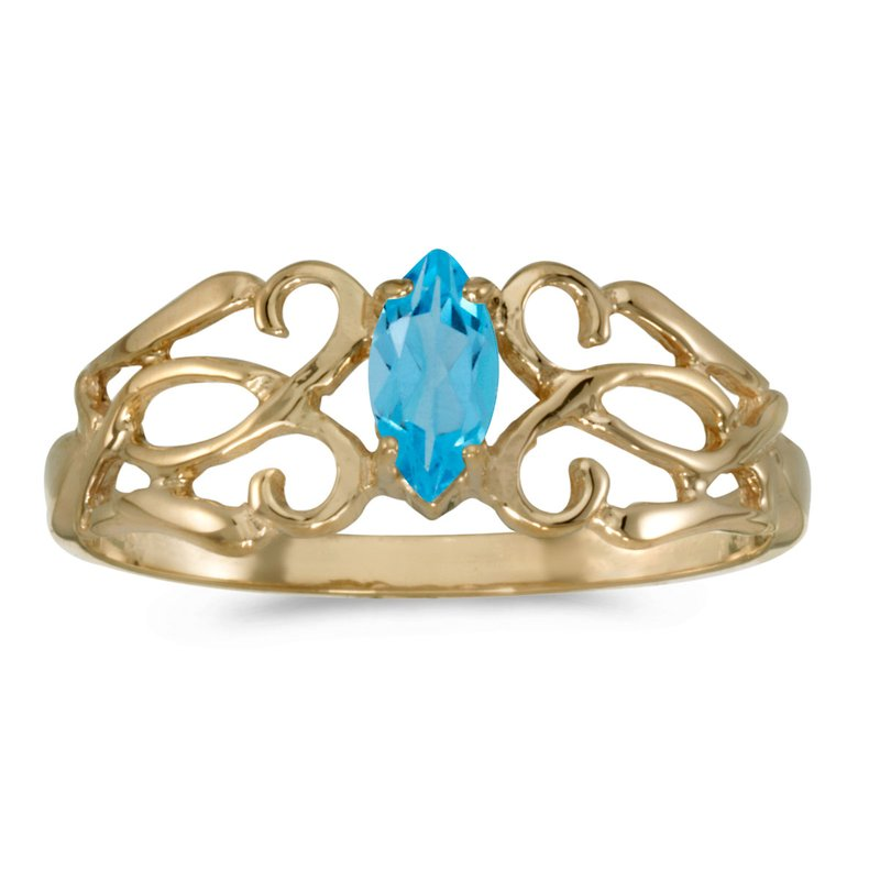 Color Merchants 14k Yellow Gold Marquise Blue Topaz Filagree Ring