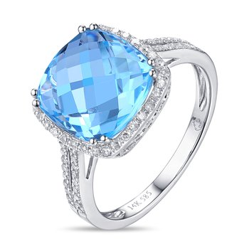 Cushion Blue Topaz Ring with Diamond Halo