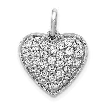 14k White Gold 1ct. Diamond Heart Pendant
