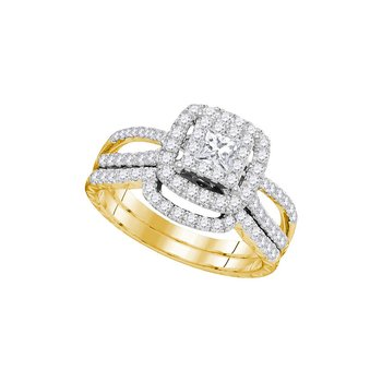14K Yellow Gold Womens Princess Diamond Bridal Wedding Engagement Ring Band Set 1.00 Cttw