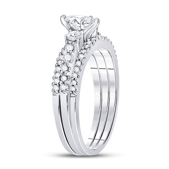 14kt White Gold Womens Marquise Diamond 3-Piece Bridal Wedding Engagement Ring Band Set 1.00 Cttw