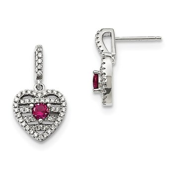 Sterling Silver Brilliant Embers Rhodium-pl Synthetic Ruby CZ Heart Earring