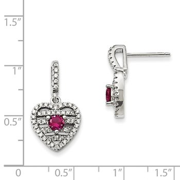 Sterling Silver Synthetic Ruby & CZ Brilliant Embers Heart Earrings