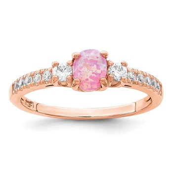 Sterling Silver Rose-tone Created Pink Opal and CZ Ring