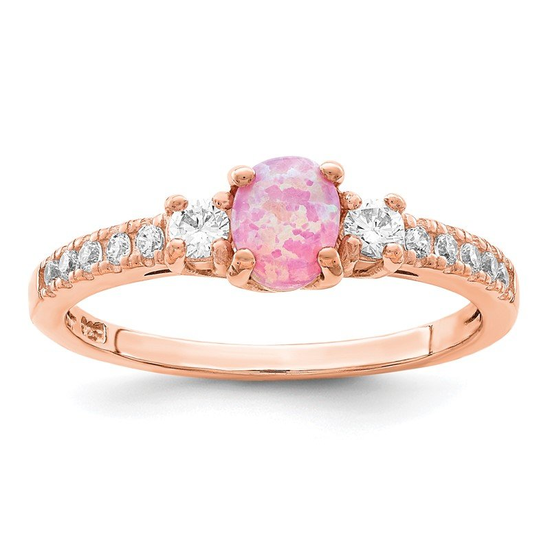 Quality Gold Sterling Silver Rose-tone Created Pink Opal and CZ Ring