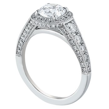 Halo Bead Set Diamond Engagement Ring