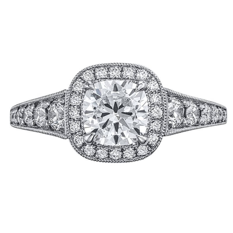 Mark Patterson Halo Bead Set Diamond Engagement Ring
