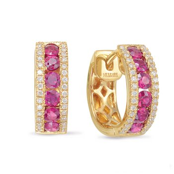 Yellow Gold Ruby & Diamond Earring